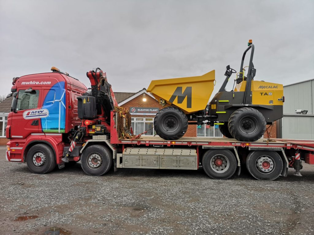 Mecalac TA9 site dumper loaded up for MW Hire
