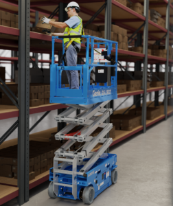 Man reaching to a shelf whilst stood in the new genie e-drive sllab scissor lift